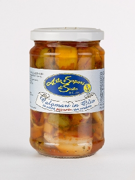 Calamari in olio in salsa piccante con verdure