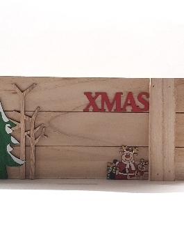 Cestino natalizio rettangolare in legno 32 x 14 P 11