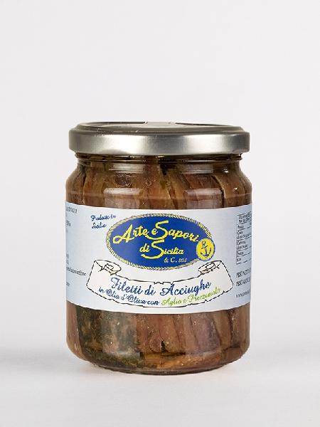 Filetti di Acciughe in olio d'Oliva con Aglio e Prezzemolo
